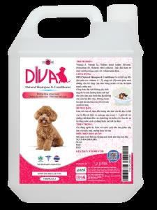 Sữa tắm chó mèo dưỡng ẩm khử mùi DIVA Hồng 2 lít