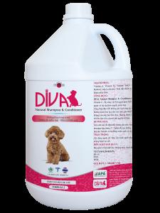 Sữa tắm chó mèo dưỡng ẩm khử mùi DIVA Hồng 4 lít