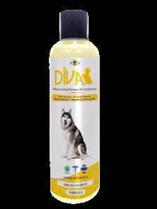 Sữa tắm chó mèo dưỡng lông chống rối DIVA Vàng 260 ml